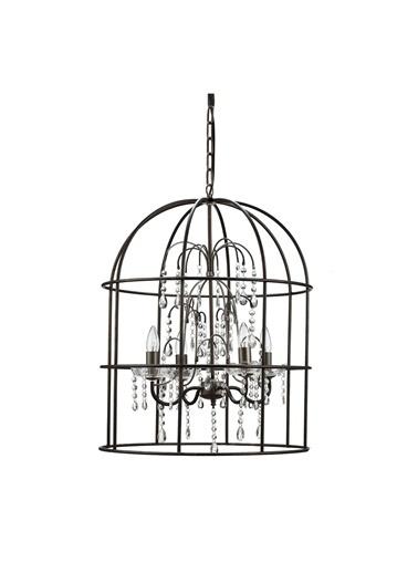 Warm Design Metal Kuş Kafesi Avize Siyah
